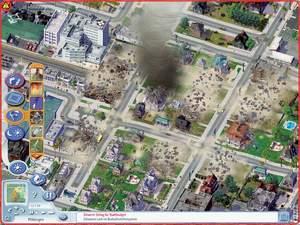 Sim City 4 : Ein rasanter Wirbelsturm tobt mit voller Wucht durch die Innenstadt von Mikkingen. Diese Katastrophe haben wir aber selbst ausgelöst.