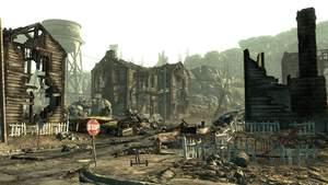 Fallout 3 : Rund um Washington erforschen Sie eine verwüstete Landschaft, hier das Städtchen Springvale.