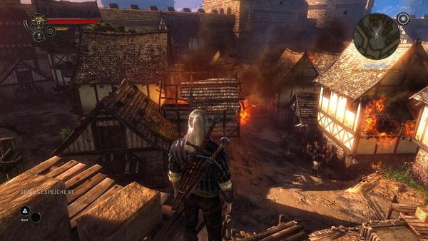 The Witcher 2: Assassins of Kings : Schicker Rauch und Flammeneffekte in der sehr hohen Detailstufe.