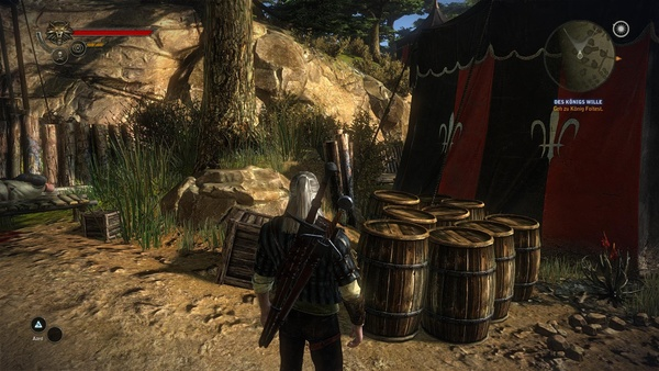 The Witcher 2: Assassins of Kings : mit ausgeschaltetem SSAO wirken die Fässer wie »aufgesetzt.«