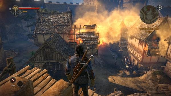 The Witcher 2: Assassins of Kings : In der 360-Fassung fallen die Texturen weiter zurückö. Auch der Rauch wirkt weit weniger plastisch und die Überstrahleffekte an der Hauswand fehlen.