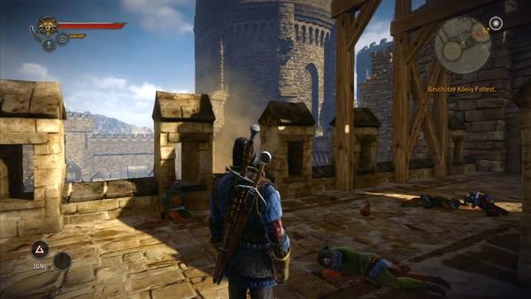 The Witcher 2: Assassins of Kings : Auf der 360 sind die Texturen zwar schärfer, dafür fehlen Details im Hintergrund. Die steinerne Umrandung der Turmöffnung ist nicht zu sehen.