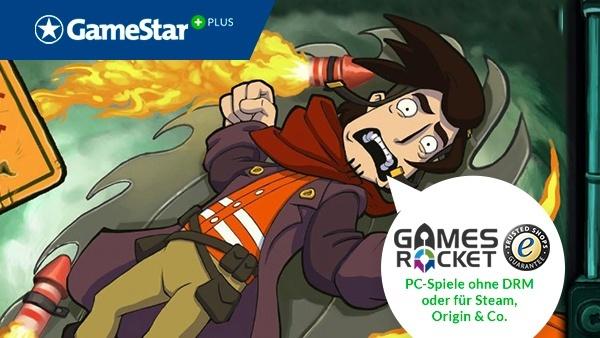 Chaos auf Deponia bei GameStar Plus : Bei GameStar Plus gibt's regelmäßig Download-Gutscheine für PC-Spiele von Gamesrocket.de, dem deutschen Spiele-Shop mit Geld-zurück-Garantie.