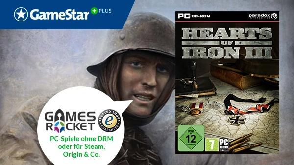 Hearts of Iron 3 bei GameStar Plus : Bei GameStar Plus gibt's regelmäßig Download-Gutscheine für PC-Spiele von Gamesrocket. Außerdem sparen Sie beim jedem PC-Spiel nochmal 10% auf den ohnehin schon reduzierten Preis.