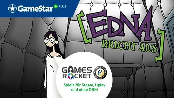 Edna bricht aus bei GameStar Plus : Mit GameStar Plus und Gamesrocket bekommen Sie nicht nur regelmäßig tolle Spielevollversionen sondern sparen beim Kauf von PC-Spielen nochmal 10 Prozent auf den in der Regel ohnehin schon deutlich reduzierten Preis.