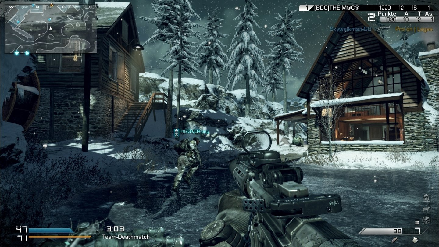 Call of Duty: Ghosts - Screenshots aus dem Multiplayer-ModusWhiteout ist die einzige Schneekarte. Hier stürtzt als dynamisches Element ein Satellit ab.