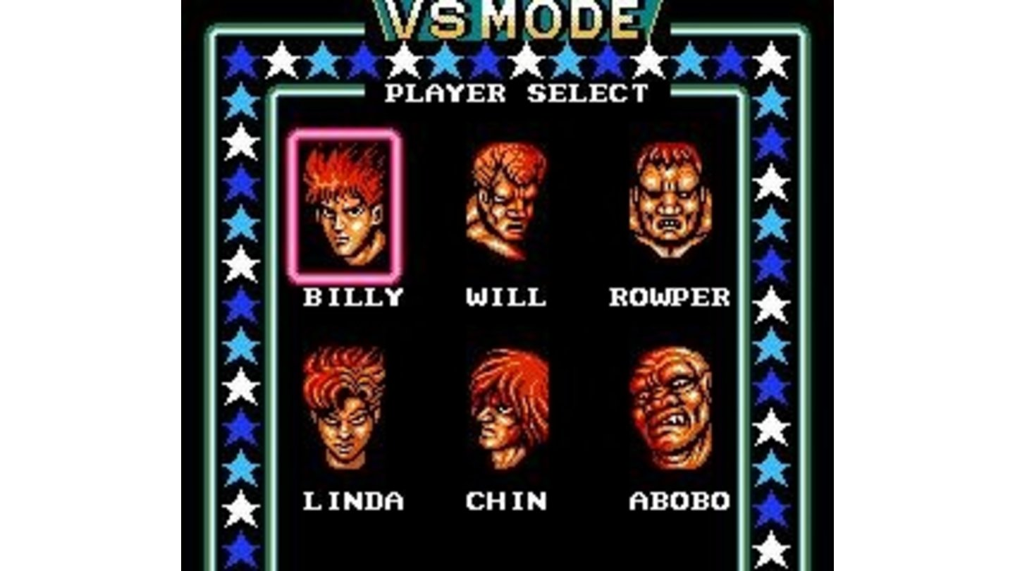 The VS. Mode's Player Select screen.