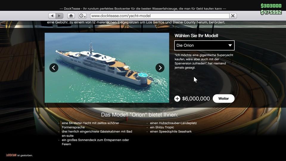 Яхты из GTA Online