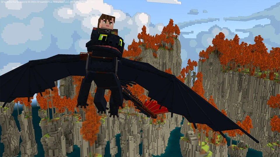 In the new Minecraft DLC you ride dragons and explore a new world