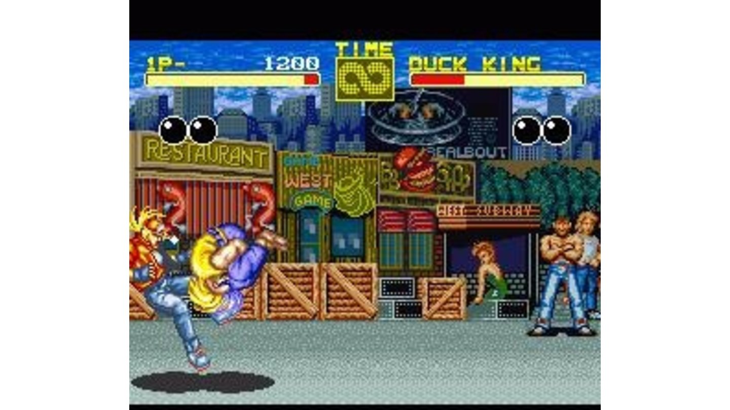 Round 1: Duck King attacks with a move remniscent of Blanka from Street Fighter 2