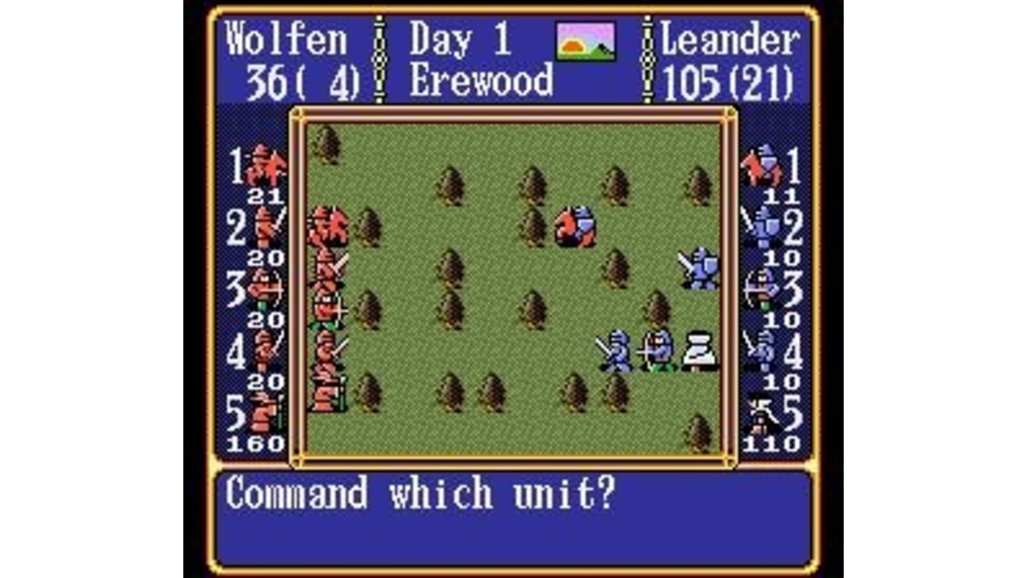 Up to five units can participate in battles. The unit's size is shown on the left and right side of the screen.