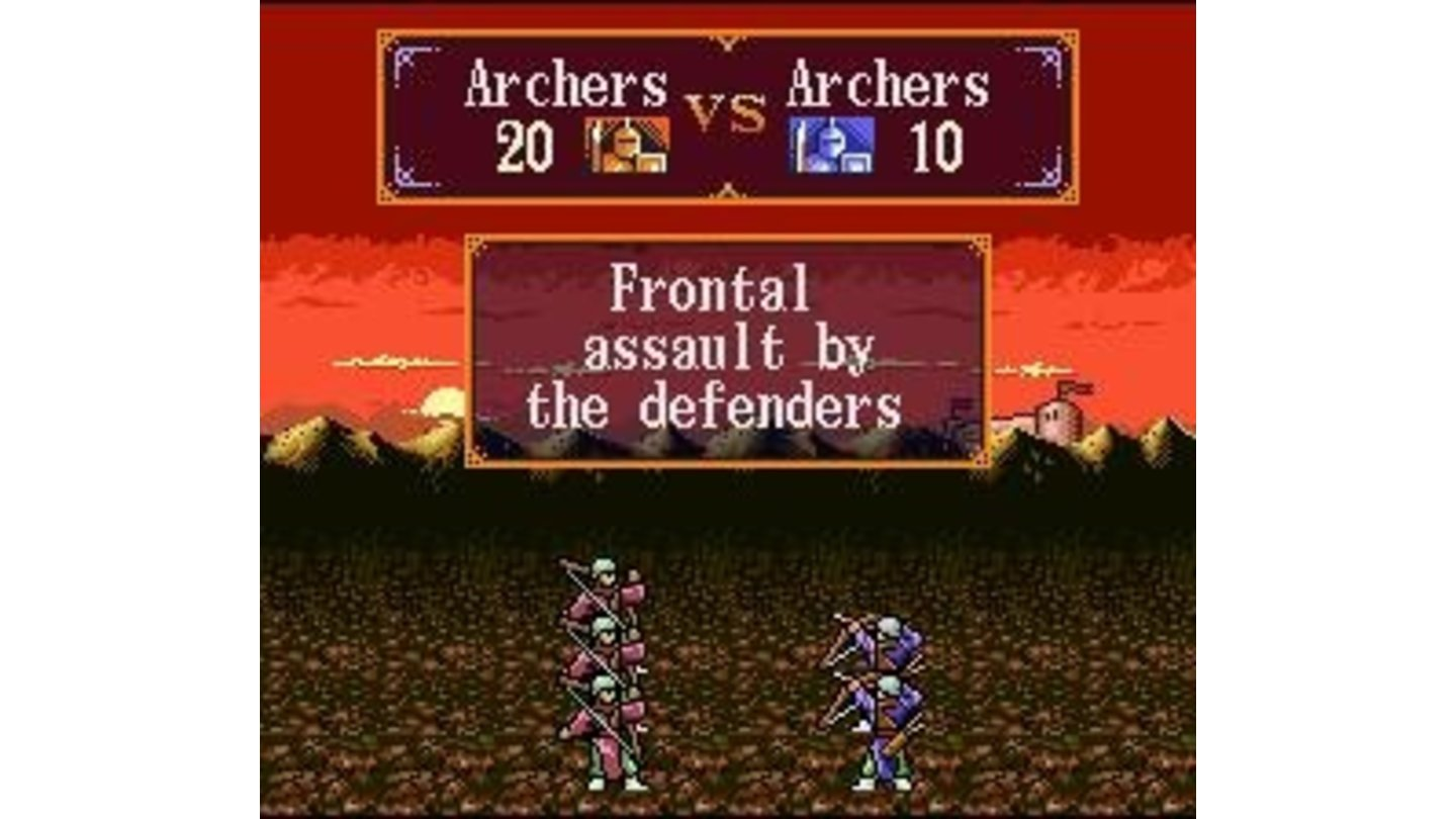 Archers attacking head on - you can also attack from the rear or the flanks