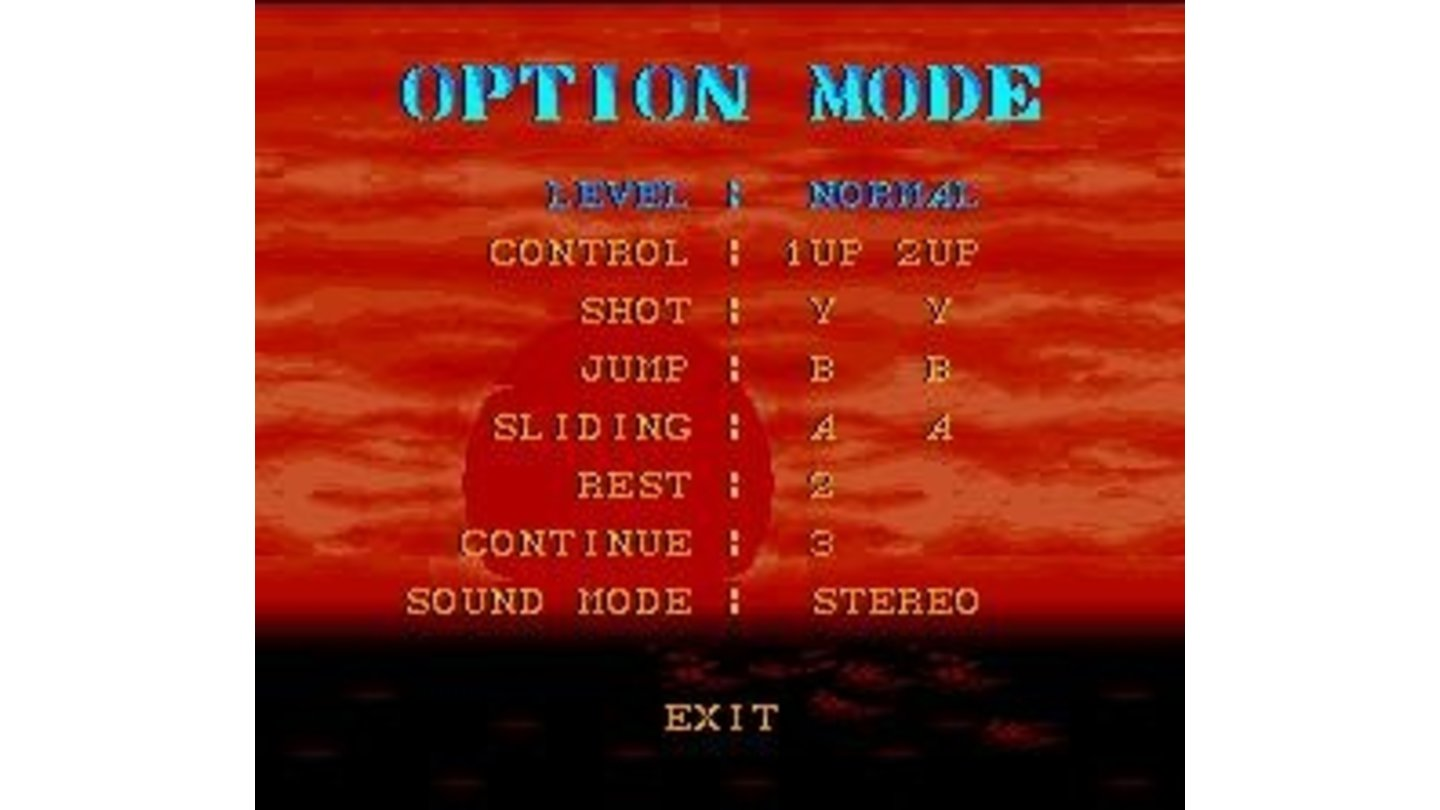 Options. Choose difficulty, number of lives, continues etc.