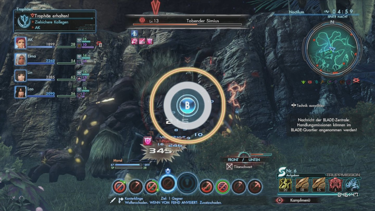 Xenoblade Chronicles X Die Quicktime-Events in den Kämpfen verstärken unsere Attacken.