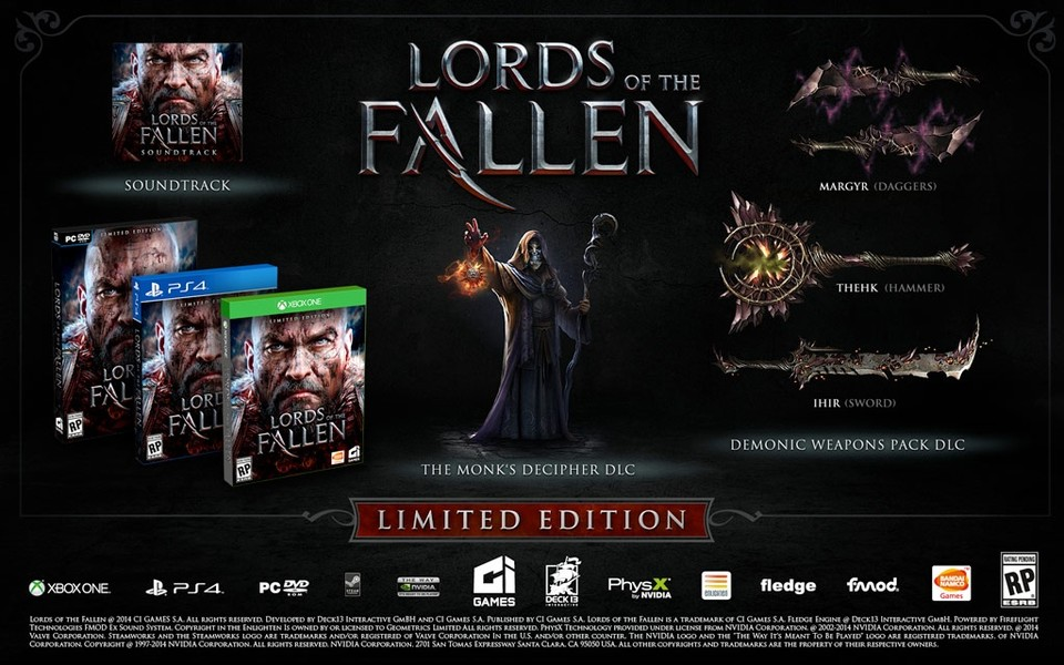 Die Inhalte der »Limited Edtion« von Lords of the Fallen.