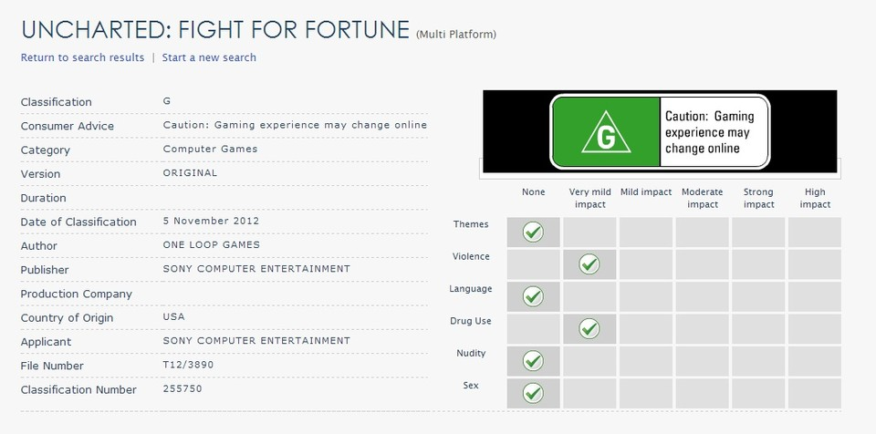 Die Beurteilung des Australian Classification Board für Uncharted: Fight for Fortune.